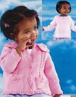 """BABY/CARDIGANS/SWEATER~LACE EDGE~DOUBLE KNITTING PATTERN SIZE 16-26""""~0-7YR (F44)"""