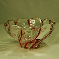 Mikasa Crystal Peppermint Swirl Bowl Murano Style Art Glass Red & Clear 5 1/2""