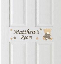 Teddy & Stars Door Name Vinyl Stickers Childrens Teddybear Bedroom Bear Sign Fun