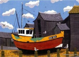 THE NET HUTS HASTING OLD TOWN 2 OPEN EDITION PRINT BY MICHAEL PRESTON