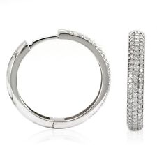 14k White Gold Diamond Huggies, 0.85tdw (NEW hoop earrings, 25.3mm x 3.9mm) 4449