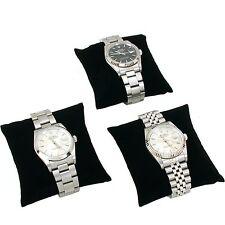 3 Black Velvet Watch & Bracelet Pillow Jewelry Display