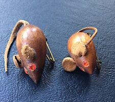 Danish Teak Wood Mouse Brooch/Pin Rhinestone Eye Leather Tail Ear pair of 2
