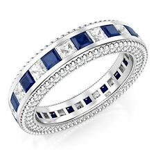 Silver Princess Cut Blue & White Created Diamond Eternity Band Ring