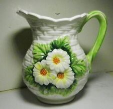 Daisytime-LEFTON White DAISY FLOWERS Basketweave Pitcher-Japan-1960's-Majolica