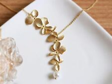 6 Orchid Flower Pearl Pendant Gold Chain Fashion Necklace