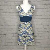Patagonia Womens Blue Floral Dress Size Small Active VNeck Surplice Stretch EUC
