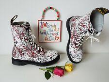 UK 8 EU 42 Dr Martens white red colour color paint splatter boots 10 eye 1490
