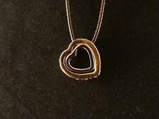 Anhänger 24 Karat Vergoldet Herz in Herz Necklace Kette Love Liebe Strass