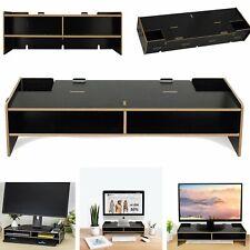 Desk Computer Monitor Screen Display Heighten Shelf Stand Organizer Black
