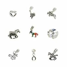 Set of 9 Horse Charms and Beads Includes Horse Charms, Horseshoe Charms, Saddle