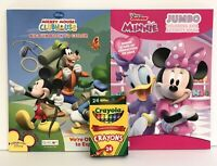 New 3pc Disney Mickey & Minnie Mouse Coloring & Activity Books And Crayons