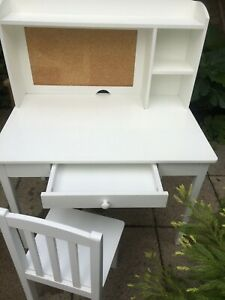 Childrens Desk and Chair with draw, cork board and storage shelves