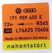 VW AUDI ENGINE RADIATOR FAN STICKER  UR QUATTRO B2 MK1 GTI MB WR  171 959 455 E
