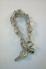 Guess silver tone & lavender oval link bracelet with charms