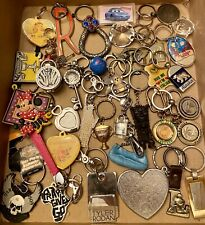 Lot 90 Vintage/Now Keychains, Gold Silver Metal, Plastic, Wood, Name Brands Etc