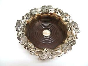 Ornate Silver Plate Wine Coaster, Maker Marks on Side