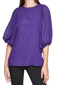 Calvin Klein Womens Blouse Purple Size Large L Textured Puff Sleeve $79- 531
