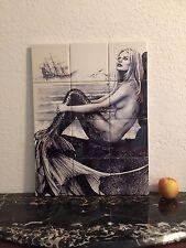 "Hangable Tile Mural  / Mermaid Mural / Bathroom Art / Mosaic Mermaid Art 18""x24"""