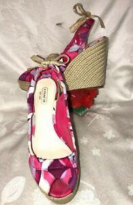 Coach Maritza Women Pink Fabric Espadrille wedges Sandals. Sz-7B. China.