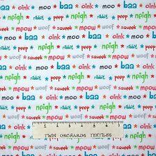 Nursery Baby Fabric - Funny Farm Animal Sounds Words White - Studio E YARD