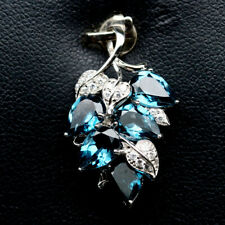 NATURAL 5 X 7mm. LONDON BLUE TOPAZ & WHITE CZ STERLING 925 SILVER PENDANT