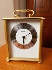 Seiko Desk and Table Carriage Clock Gold-Tone Solid Brass QHG102F