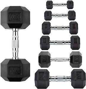 Hex Dumbells Cast Iron Rubber Encased Hexagonal Dumbbells Gym Weight Set Home