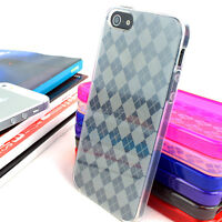 For Apple iPhone 5S 5 Colorful Argyle Transparent Hard Gel TPU Phone Case Cover