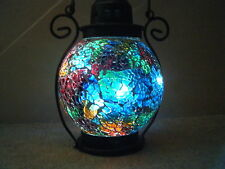 lantern  tea light candle holder  moroccan style multi crackle glaze glass