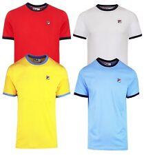 FILA Classic Marconi Crew Neck Ringer T-Shirt Retro Sports Top Casual Tee
