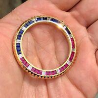 Bezel For Rolex GMT-Master II 116758 Yellow Gold Sapphire Rubies & Diamonds