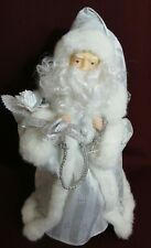 "Vintage Santa Claus Christmas Tree Topper Victorian Silver Robe Faux Fur 12"""