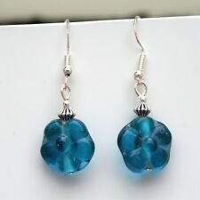 Teal Glass Flower Earrings with Sterling Silver Hooks New Glass Drops LB196