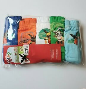 5 Pack Boys Bing Pants Briefs 100% Cotton 18 months - 5 years