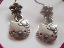 Hello kitty & flower Tibeten silver Hook Ear rings. By Sanrio   Ladies/Girls