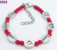 1pc red Tibetan silver heart charms bracelet t004