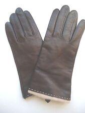 Ladies Fownes Beige Angora Lined Brown Genuine Leather Gloves,Xlarge
