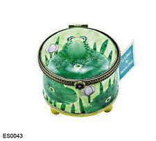 KELVIN CHEN Enamel Copper Handpainted STAMP Dispenser Holder - Frog on Lilypad