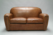 FLEA, Ledersofa 2 Sitzer Couch antik braun, Loungesofa vintage Leder Matz Möbel