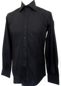 Men's Plain Shirt Black Slim Fit Long Sleeve Polycotton Size: XXL Claudio Lugli