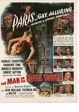 MAN ON THE EIFFEL TOWER Charles Laughton 1950 Movie Promo Vintage Ad
