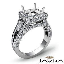 18k White Gold Cushion Diamond Engagement Ring Semi Mount 1.7Ct Halo Pave Set