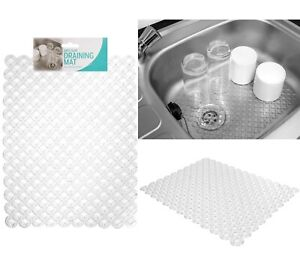 Kitchen Sink Mat Dish Drainer Cup Glass Scratch Protector Anti Slip Clear Pebble