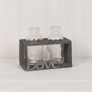 Two Small Glass Bottles in a Wooden Stand 15cm - Rustic Country Flower Stem Vase