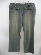 Jeans 20W Women's Plus Distressed Denim Faded Glory Straight Leg Relaxed Pocket