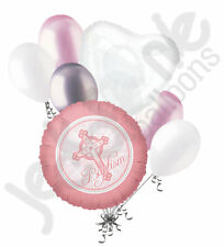 7 pc Baby Girl Pink Cross Baptism Balloon Bouquet Religious Ceremony Celebration