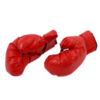 Sponge Padded Red Faux Leather Boxing Gloves for Child B6L3