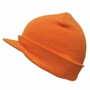 Hunter High Viz Orange Cap Stocking Winter Hat Beanie Jeep Visor Brimmed Radar