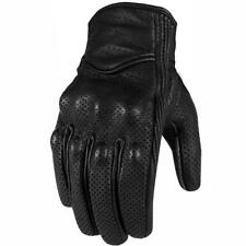 Genuine Leather Motorcycle Gloves Perforated Full Finger Touch Scree M L XL XXL
